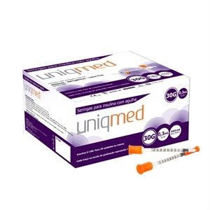 Seringa para Insulina Uniqmed 0,3mL (30UI) Agulha 8x0,3mm 30G - Caixa com 100 seringas  - Diabetes On - Vendido e Entregue por Diabetic Center