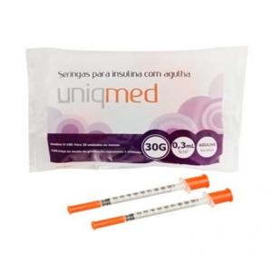 Seringa para Insulina Uniqmed 0,3mL (30UI) Agulha 8x0,3mm 30G - Pacote com 10 seringas  - Diabetes On - Vendido e Entregue por Diabetic Center