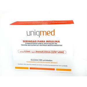 Seringa para Insulina Uniqmed 0,5mL (50UI) Agulha 5x0,23mm 32G - Caixa com 100 seringas embaladas individualmente  - Diabetes On - Vendido e Entregue por Diabetic Center
