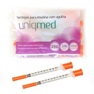 Seringa para Insulina Uniqmed 1mL (100UI) Agulha 12,7x0,33mm 29G - Pacote com 10 seringas  - Diabetes On - Vendido e Entregue por Diabetic Center