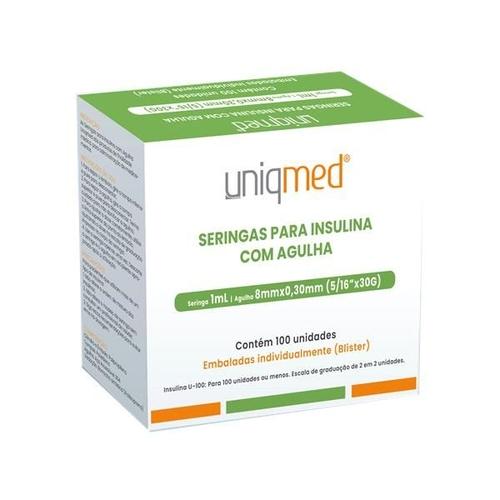 Seringa para Insulina Uniqmed 1mL (100UI) Agulha 8x0,3mm 30G embaladas individualmente  - Caixa com 100 seringas  - Diabetes On - Vendido e Entregue por Diabetic Center