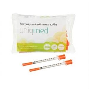 Seringa para Insulina Uniqmed 1mL (100UI) Agulha 8x0,3mm 30G - Pacote com 10 seringas  - Diabetes On - Vendido e Entregue por Diabetic Center