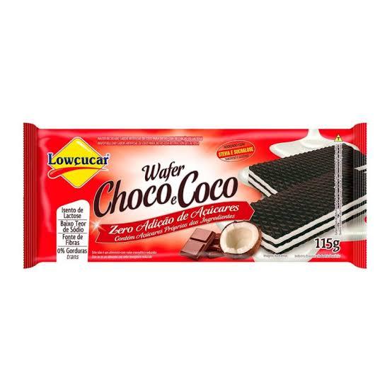 Wafer Lowçucar Zero Açúcares Sabor Choco e Coco 115g  - Diabetes On - Vendido e Entregue por Diabetic Center