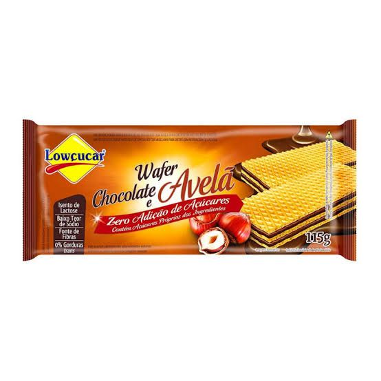 Wafer Lowçucar Zero Açúcares Sabor Chocolate e Avelã 115g  - Diabetes On - Vendido e Entregue por Diabetic Center