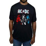 Camiseta AC/DC Estampa 3 cores - Preta