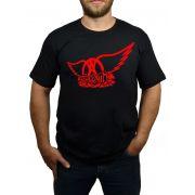Camiseta Aerosmith Estampa Vermelha - Preta