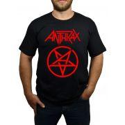 Camiseta Anthrax Pentagrama - Preta