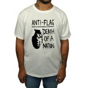 Camiseta Anti Flag - Death By Nation - Estampa 1 Cor - Branca