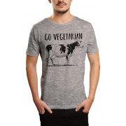 Camiseta Go Vegetarian - Cinza Mescla