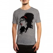 Camiseta Amy Winehouse Cinza Mescla