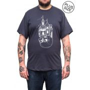 Camiseta Hshop Castle - Cinza Chumbo - Plus Size - Tamanho Grande XG