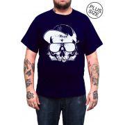Camiseta Hshop Caveira Boné - Azul Marinho - Plus Size - Tamanho Grande XG