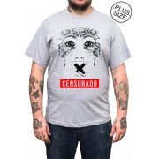 Camiseta Hshop Censurado - Cinza Mescla - Plus Size - Tamanho Grande XG