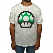 Camiseta Cogumelo Mario 1 UP - Branco