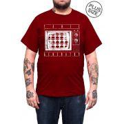 Camiseta Hshop Death By TV - Vinho - Plus Size - Tamanho Grande XG