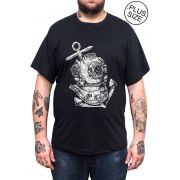 Camiseta Hshop Diver - Preto - Plus Size - Tamanho Grande XG