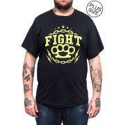 Camiseta Hshop Fight! - Preto - Plus Size - Tamanho Grande XG