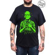 Camiseta Hshop Frankselfie - Preto - Plus Size - Tamanho Grande XG