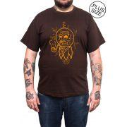 Camiseta Hshop Future Man - Marrom - Plus Size - Tamanho Grande XG