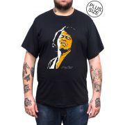 Camiseta Hshop James Brown - Preto - Plus Size - Tamanho Grande XG