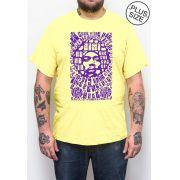 Camiseta Hshop Jimi Hendrix - Amarelo Bebê - Plus Size - Tamanho Grande XG