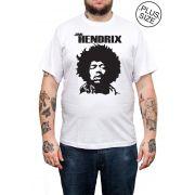 Camiseta Hshop Jimi Hendrix - Branco - Plus Size - Tamanho Grande XG