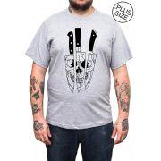 Camiseta Hshop Knivez - Cinza Mescla - Plus Size - Tamanho Grande XG
