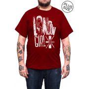 Camiseta Hshop London Girl - Vinho - Plus Size - Tamanho Grande XG