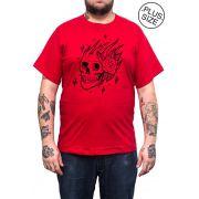 Camiseta Hshop Skull Rose - Vermelho - Plus Size - Tamanho Grande XG