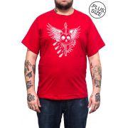Camiseta Hshop Skull - Vermelho - Plus Size - Tamanho Grande XG