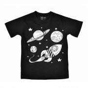 Camiseta Infantil HShop Tchau, Partiu Preto