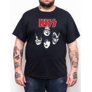 Camiseta KISS - Preto - Plus Size - Tamanho Grande Xg