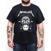 Camiseta Metallica - Caveira - Plus Size - Tamanho Grande Xg