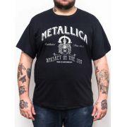 Camiseta Metallica - Whiskey - Plus Size - Tamanho Grande Xg