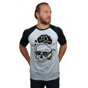 Camiseta Raglan Hshop Beer Sun - Branco com Preto