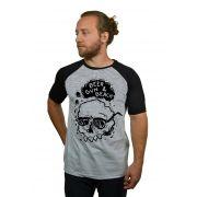 Camiseta Raglan Hshop Beer Sun - Cinza Mescla com Preto