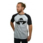 Camiseta Raglan Hshop Bite Me - Branco com Preto