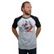 bf597aa75d Camiseta Raglan Hshop Catz - Branco com Preto