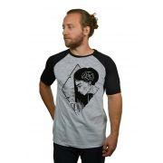 Camiseta Raglan Hshop Girlz - Cinza Mescla com Preto