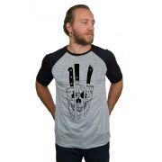 Camiseta Raglan Hshop Knivez - Cinza Mescla com Preto