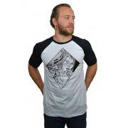 Camiseta Raglan Hshop Mirror - Branco com Preto