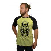 Camiseta Raglan Hshop Múmia Matrioska - Amarelo com Preto