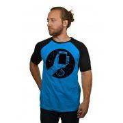 Camiseta Raglan Hshop Slave - Azul Turquesa com Preto