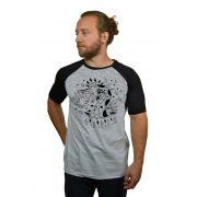 Camiseta Raglan Hshop Snake - Cinza Mescla com Preto