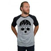 Camiseta Raglan Hshop Storm Skull - Cinza Mescla com Preto