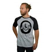 Camiseta Raglan Hshop Trust Me - Cinza Mescla com Preto