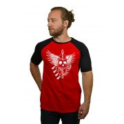 Camiseta Raglan Hshop Wing Skull - Vermelho com Preto