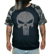 Camiseta Raglan Justiceiro - Plus Size - Tamanho XG