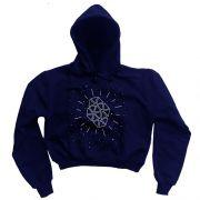 Moletom Cropped Galáxia - Azul Marinho