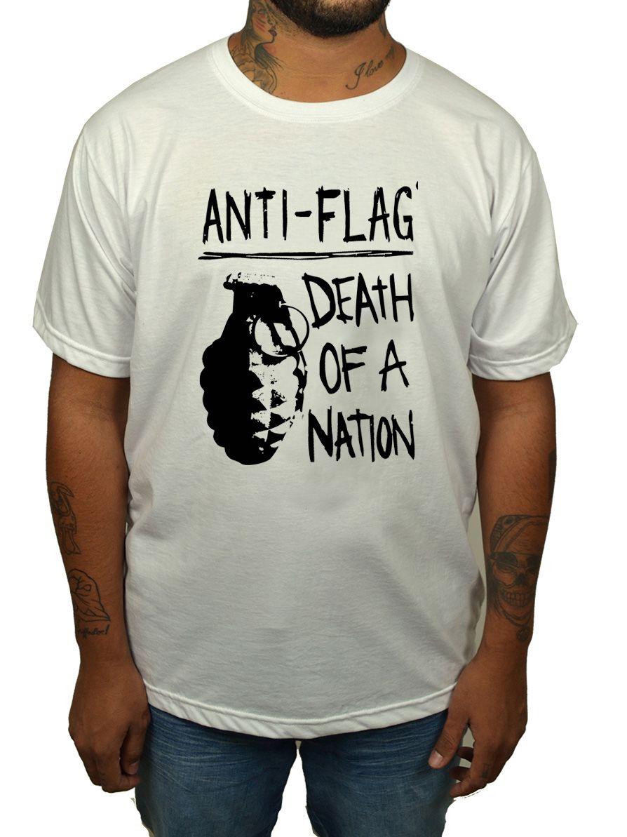 Camiseta Anti Flag - Death By Nation - Estampa 1 Cor - Branca  - HShop